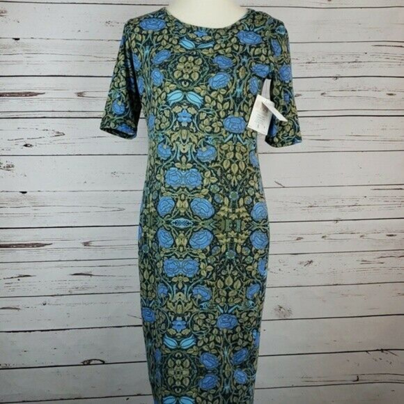 LuLaRoe Dresses & Skirts - LuLaRoe Julia Blue Rose Dress Size Small NWT